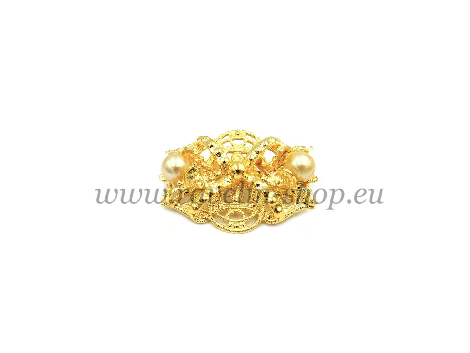 brož s perlami, pozlacená (g)