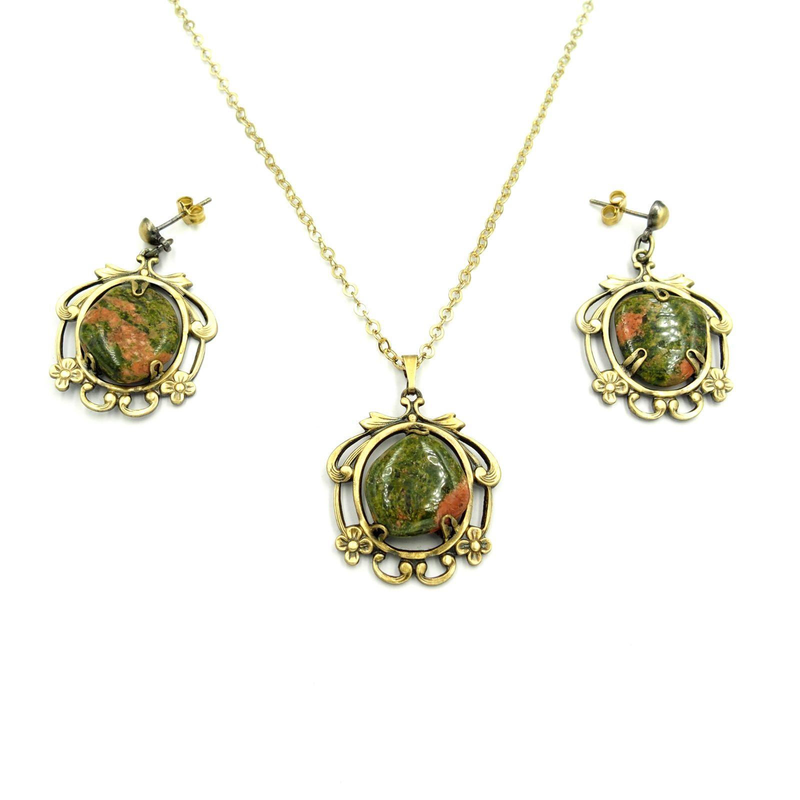 náhrdelník s přívěskem a naušnicemi (f)