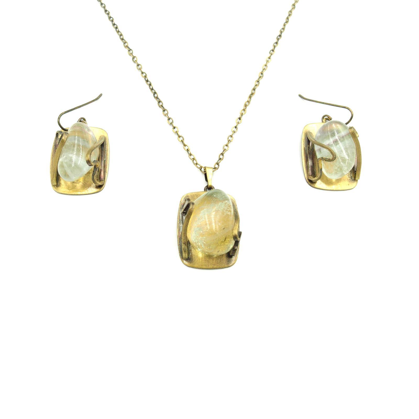 náhrdelník s přívěskem a naušnicemi (i)