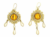 náušnice pozlacené s perlami - sklo
