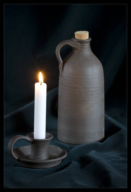 svícen na parafínovou svíčku, keramický svícen